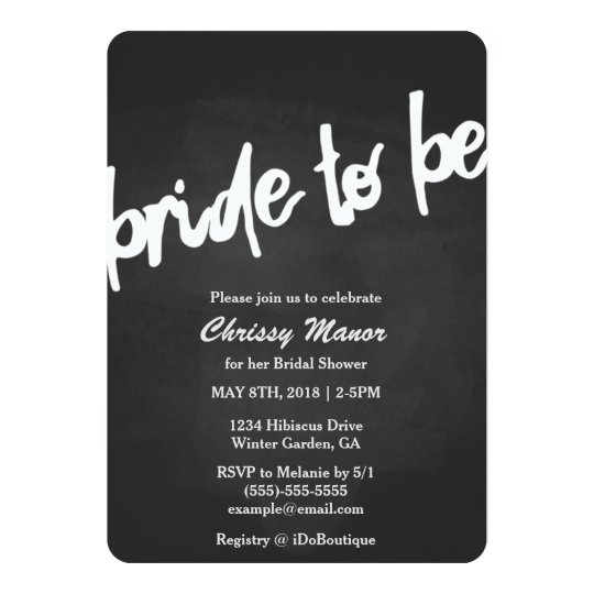 Bride To Be Chalkboard Bridal Shower Invitation