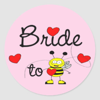 Bride to Be / HEART HAPPY BEE Round Sticker