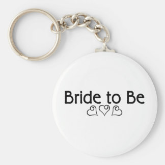 Bride To Be Hearts Basic Round Button Key Ring