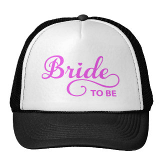 Bride to be pink word art text design for t-shirt trucker hat