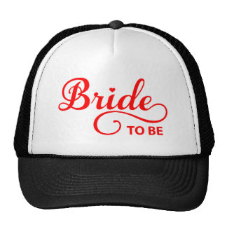 Bride to be red word art text design for t-shirt trucker hat