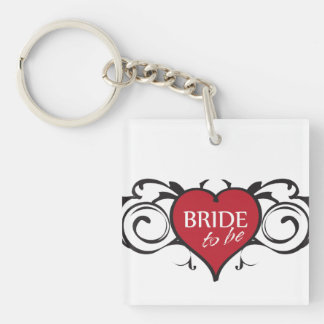 Bride to Be Rocker Double-Sided Square Acrylic Key Ring