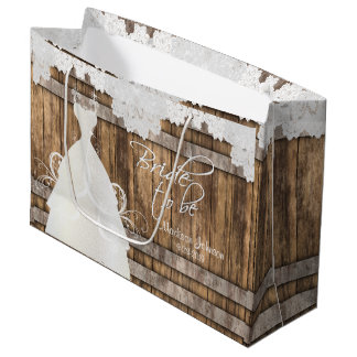 Bride to Be - Rustic Wood and Lace Design 2 Large Gift Bag