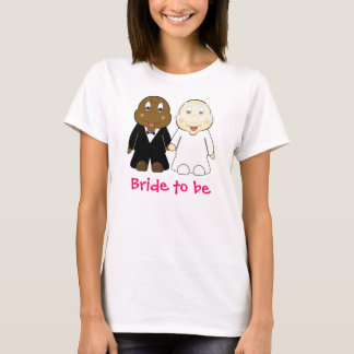 Bride to Be Slogan with Cartoon Bride and Groom T-Shirt