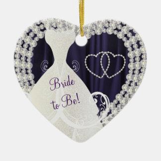 Bride to Be White Diamonds Plum Purple Wedding Christmas Ornament
