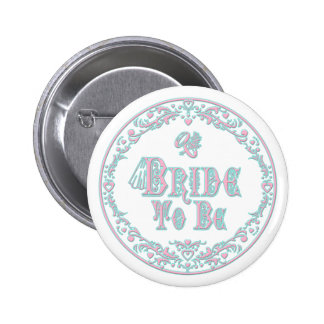 Bride To Be With Veil Fancy Pink - Teal Vintage Pinback Buttons