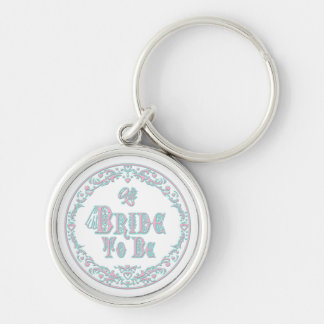 Bride To Be With Veil Fancy Pink - Teal Vintage Key Chains