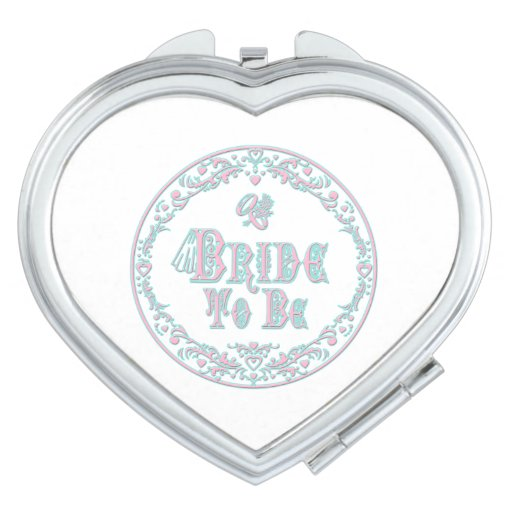 Bride To Be With Veil, Fancy Pink - Teal Vintage Compact Mirrors
