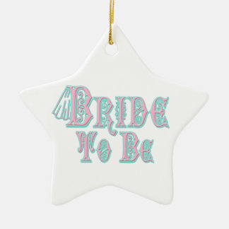 Bride To Be With Veil, Pink and Teal Type Ceramic Star Decoration