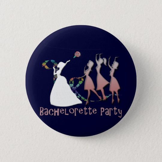 BRIDE TOSSING THE BOUQUET 6 CM ROUND BADGE