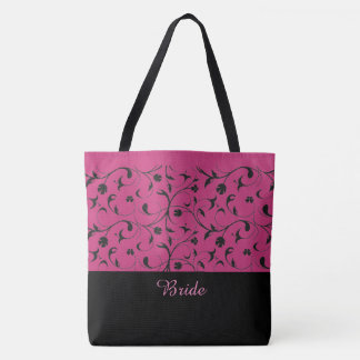 Bride Tote Bag Hot Pink & Black Scrolls