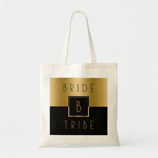 Bride tribe Black & Gold Geometric Design Tote Bag