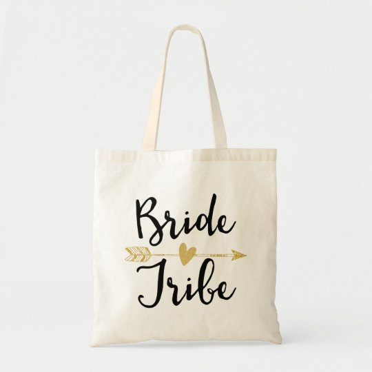 """Bride Tribe"" Bridesmaid Black and Golden Tote Bag"