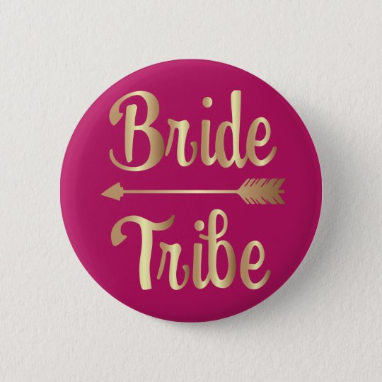 Bride tribe bridesmaid gold button
