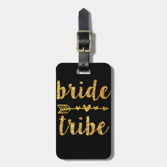 Bride Tribe Bridesmaid Gold Glitter Luggage Tag