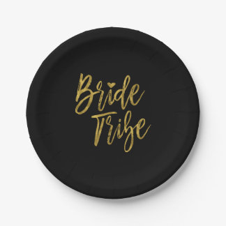 Bride Tribe Faux Gold Foil and Black with Heart Paper Plate
