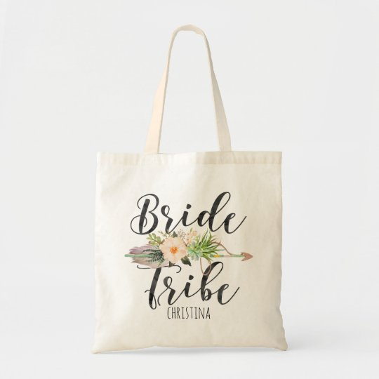 """""""Bride Tribe"""" Floral,Feather Arrow Personalise Tote Bag"""