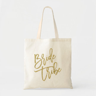 Bride Tribe Gold Glitter Script Tote Bag