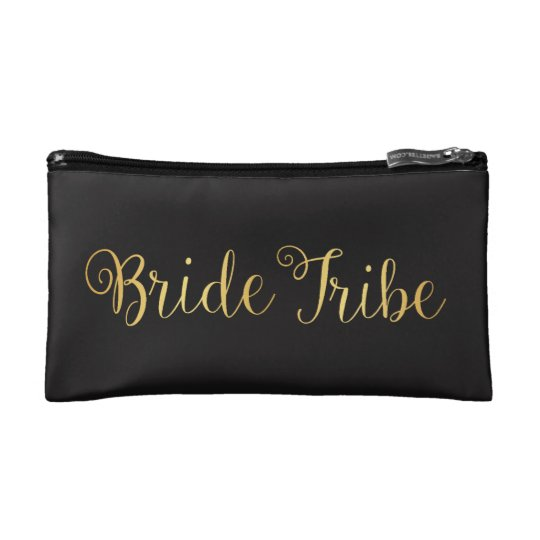Bride Tribe golden Makeup Bag