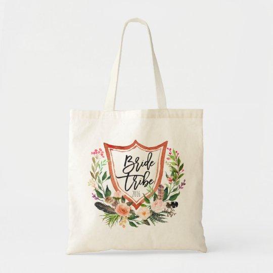 Bride Tribe Personalised Braidsmaid Floral Tote Bag