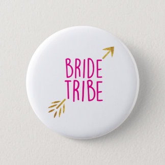 {Bride Tribe} Pink & Gold 6 Cm Round Badge