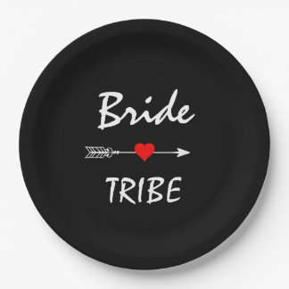 "Bride Tribe Red Heart Arrow Black 9"" Paper Plate"