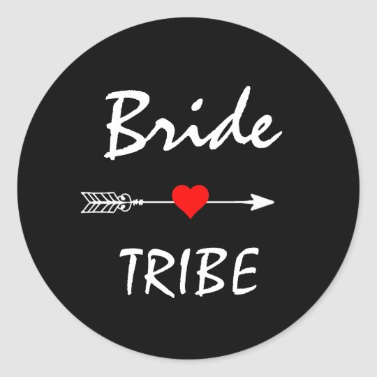 Bride Tribe Red Heart Arrow Black Classic Round
