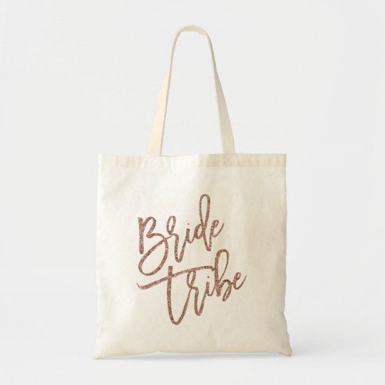 Bride Tribe Rose Gold Faux Glitter Script Tote