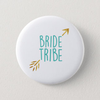 {Bride Tribe} Turquoise & Gold 6 Cm Round Badge