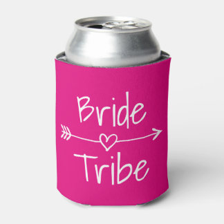 Bride Tribe wedding party neon pink can coolers