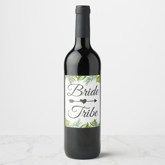 Bride Tribe Wine Label | Tropical Leaves