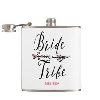 Bride Tribe with Hand Drawn Arrow Monogram | Hip Flask