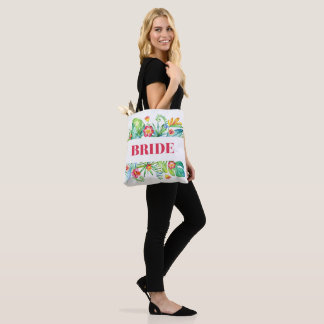 Bride Tropical Beach Destination Wedding Tote Bag