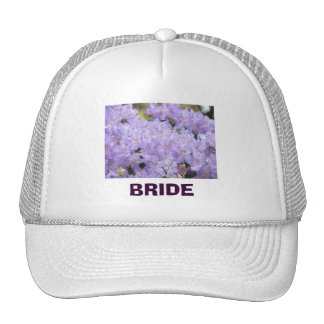 Bride trucker hats Custom text Lavender Rhodies