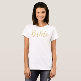 Bride Tshirt Faux Gold Glitter, Diamond Bridal