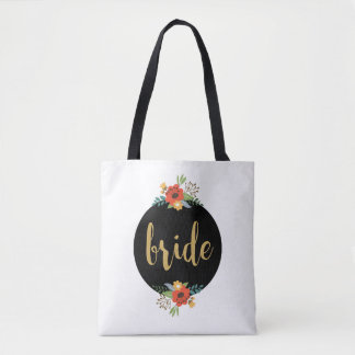 Bride Typography & Colorful Floral Bouquet Tote Bag