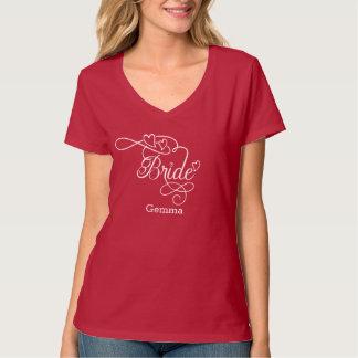 """Bride"" Typography Hearts T-Shirt"