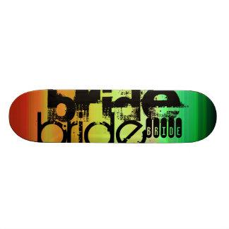 Bride; Vibrant Green, Orange, & Yellow 19.7 Cm Skateboard Deck