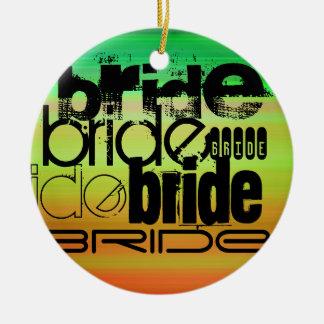 Bride; Vibrant Green, Orange, & Yellow Round Ceramic Decoration