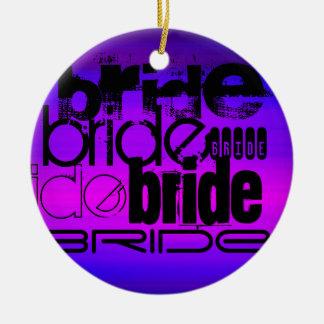 Bride; Vibrant Violet Blue and Magenta Round Ceramic Decoration