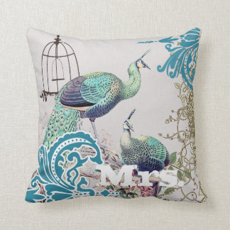 Bride Vintage Teal Damask Peacock Birdcage Vines Cushion
