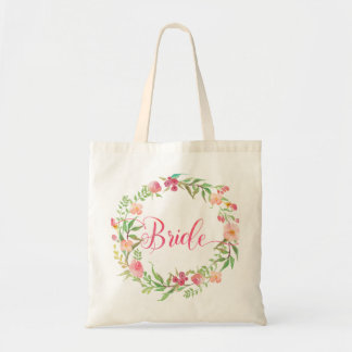 Bride Watercolor Floral Wreath3 Tote Bag