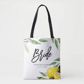 Bride Watercolor Lemon Bohemian Wedding Tote Bag