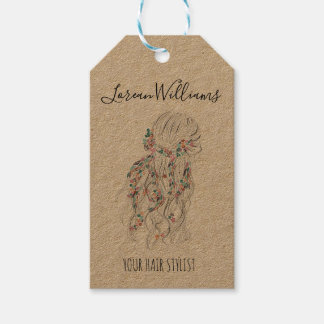 Bride Wavy hair floral wreath Hairstyling branding Gift Tags