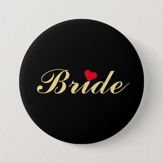 Bride Wedding Bachelorette Party Black Pin Button