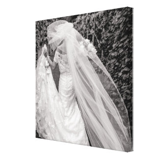 Bride Wedding Bouquet Black and White Photo Canvas Canvas Print
