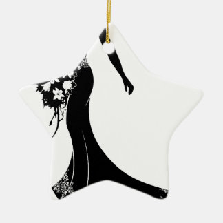 Bride Wedding Bouquet Silhouette Christmas Ornament