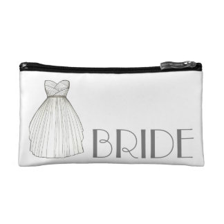 BRIDE Wedding Dress Gown Personalized Bridal Gift Makeup Bag