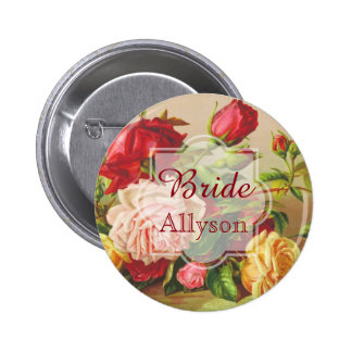 Bride Wedding Monogram Vintage Victorian Roses 6 Cm Round Badge