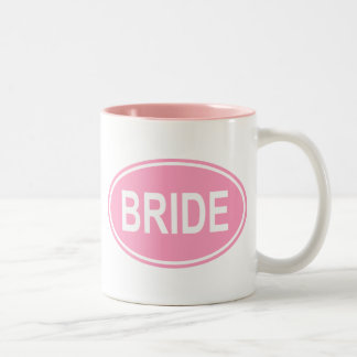 Bride Wedding Oval Pink Two-Tone Coffee Mug